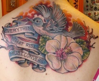Blue bird and flower large memorial tattoo